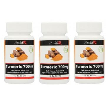 HEALTHRX TURMERIC 700MG TABLETS 60S TRIPLE PACK